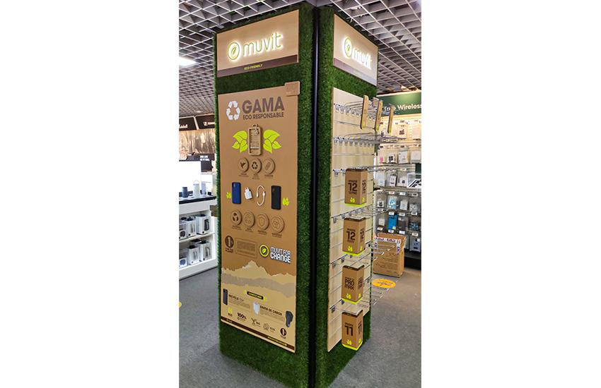 Diseño de un shop in shop 100% ecofriendly. Diseño y montaje de tienda dentro de otra tienda sostenible. Diseño de shop in shop con materiales ecológicos y económicos.