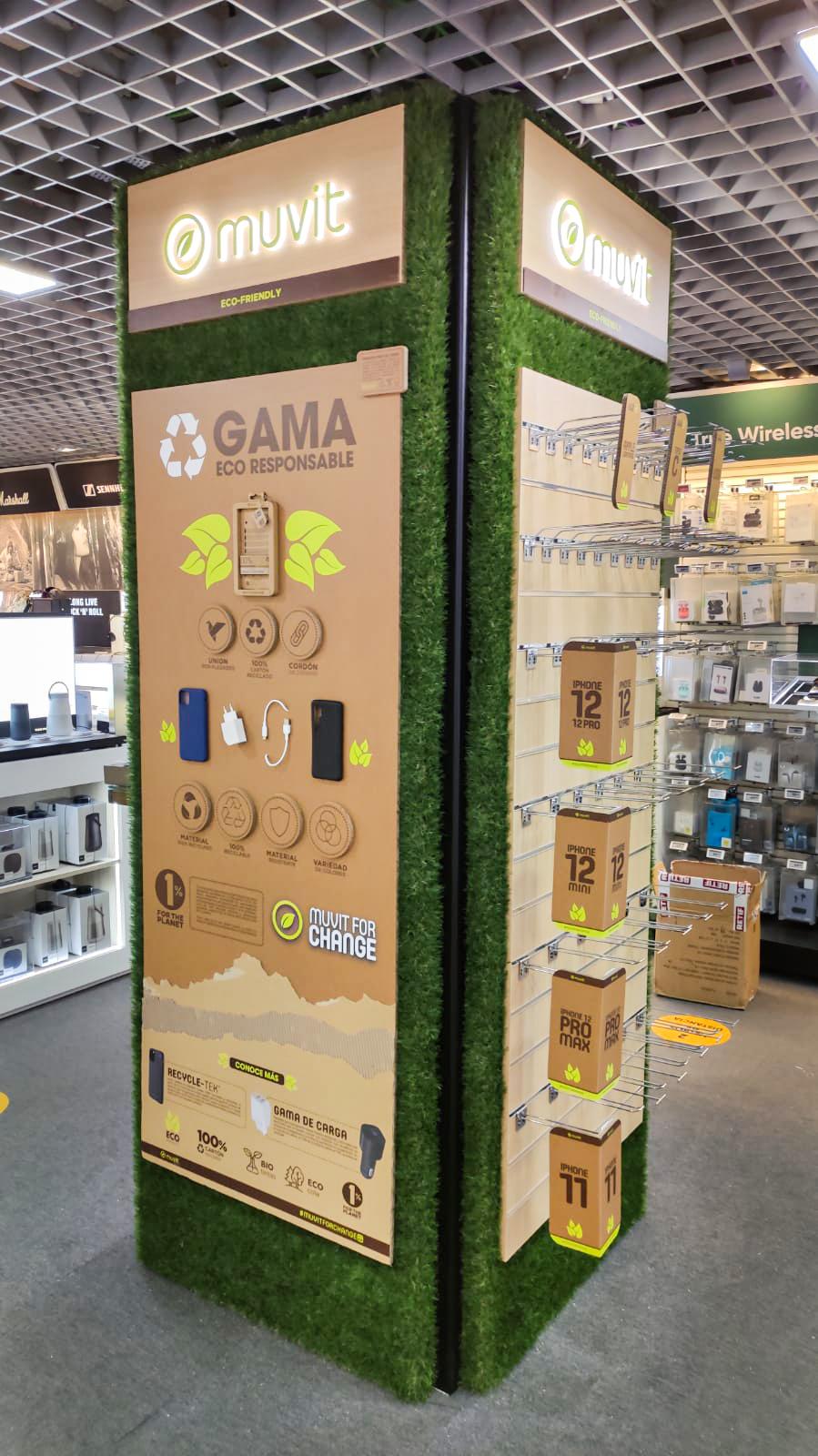 Diseño retail en Barcelona, para la marca Muvit, diseño retail eco friendly